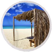 Shelter On A White Sandy Caribbean Beach With A Blue Sky And White Clouds Round Beach Towel