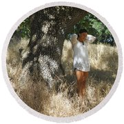 Sheltered From The Heat Round Beach Towel