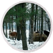 Sheltered In The Trees Round Beach Towel