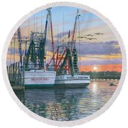 Shem Creek Shrimpers Charleston  Round Beach Towel by Richard Harpum