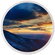 Shenandoah Sunset Round Beach Towel