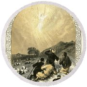 Shepherds And Angel Round Beach Towel