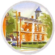 Sheriffs Residence With Courthouse II Round Beach Towel