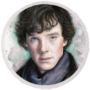 Sherlock Holmes Portrait Benedict Cumberbatch Round Beach Towel by Olga Shvartsur