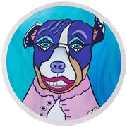 She's A Pit Bull That Wears Lipstick Round Beach Towel