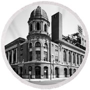 Shibe Park In Black And White Round Beach Towel