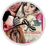 Shih Tzu Art - My Fair Lady Movie Poster Round Beach Towel