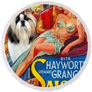 Shih Tzu Art - Salome Movie Poster Round Beach Towel