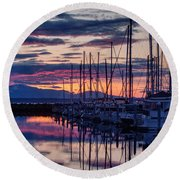Shilshole Olympic Mountains Sunset Round Beach Towel