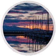 Shilshole Olympic Mountains Sunset Vertical Round Beach Towel