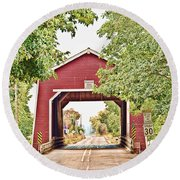 Shimanek Covered Bridge Round Beach Towel