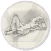 Shimmering Shadows Round Beach Towel