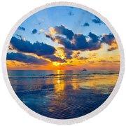 Shimmering Sundown Round Beach Towel