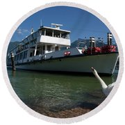 Ship And Swan Round Beach Towel
