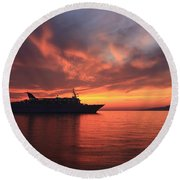 Ship At Mykonos Bay Mykonos Cyclades Greece  Round Beach Towel