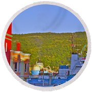 Ship At The End Of Water Street In Saint John's-nl Round Beach Towel