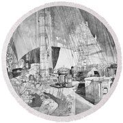 Ship Austria, C1816 Round Beach Towel