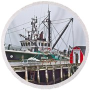 Ship Docked In Lunenburg-ns Round Beach Towel