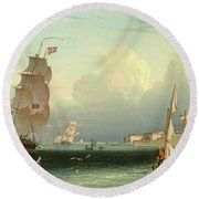 Ship Going Out, Fort Independence Round Beach Towel