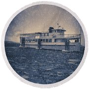 Ship In A Snowstorm Round Beach Towel
