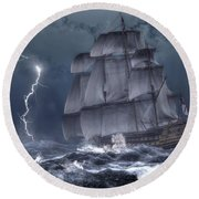 Ship In A Storm Round Beach Towel