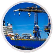 Ship In Port Round Beach Towel