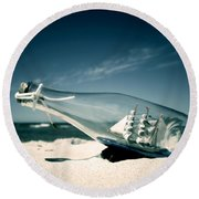 Ship In The Bottle Round Beach Towel