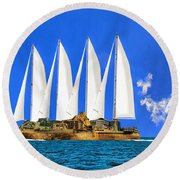 Ship Of State Round Beach Towel
