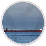 Ship On Lake Huron 1 Round Beach Towel