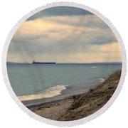 Ship On The Horizon Round Beach Towel