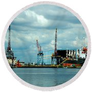 Ship Repair Round Beach Towel