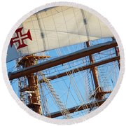 Ship Rigging Round Beach Towel