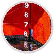 Ship Waterline Numbers Round Beach Towel