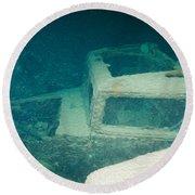Ship Wreck With Trucks Round Beach Towel