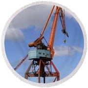 Shipping Industry Crane 06 Round Beach Towel