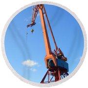 Shipping Industry Crane Round Beach Towel