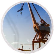 Shipping Industry Dock Round Beach Towel