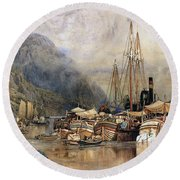 Shipping On The Hudson River Round Beach Towel by Samuel Colman