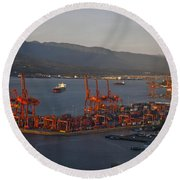 Shipping Terminals Port Of Vancouver Round Beach Towel