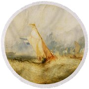 Ships A Sea Getting A Good Wetting Round Beach Towel
