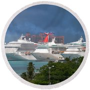Ships And Atlantis Round Beach Towel