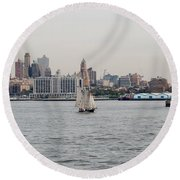 Ships And Boats Round Beach Towel