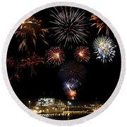 Ships And Fireworks Round Beach Towel