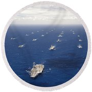 Ships And Submarines Participating Round Beach Towel