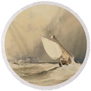 Ships At Sea Off Folkestone Harbour Storm Approaching Round Beach Towel
