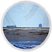 Ships At Sea Round Beach Towel
