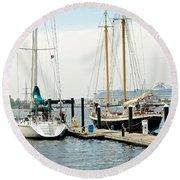 Ships In Newport Harbor Round Beach Towel