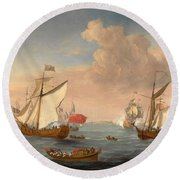 Ships In The Thames Estuary Near Sheerness Round Beach Towel