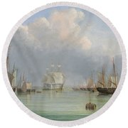 Ships Off Ryde Round Beach Towel