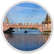 Ships On Waves Bridge Round Beach Towel